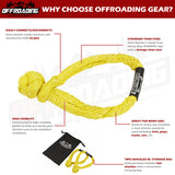 Offroading Gear Set of Two Synthetic Soft Rope Shackles w/Free Storage Bag