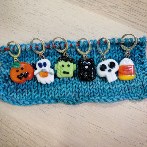 Halloween Stitch markers and Progress Keepers for Knitting and Crochet