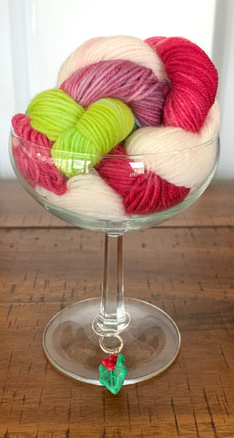 wine glass and yarn