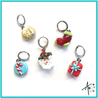 Santa's Special Set Stitch Marker / Progress Keeper / Earring