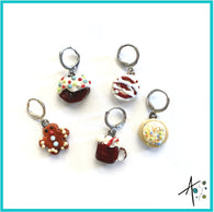 Holiday Sweet Treats Set Stitch Marker / Progress Keeper / Earring