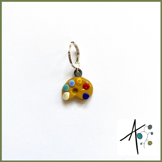Artist Palette Stitch Marker / Progress Keeper / Earring