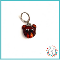Bear Face Stitch Marker / Progress Keeper / Earring
