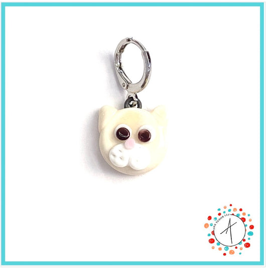 Cat - Cream Stitch Marker / Progress Keeper / Earring