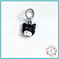 Cat - Black Stitch Marker / Progress Keeper / Earring