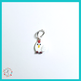Chicken  - White Stitch Marker / Progress Keeper / Earring