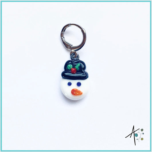 Snowman Stitch Marker / Progress Keeper / Earring
