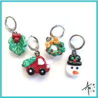 Home for the Holidays Set Stitch Marker / Progress Keeper / Earring