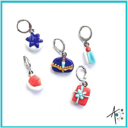Hanukkah Set Stitch Marker / Progress Keeper / Earring