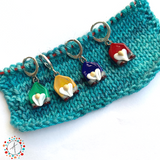 Holiday Gnomes Set of 4 Stitch Markers / Progress Keepers / Earrings