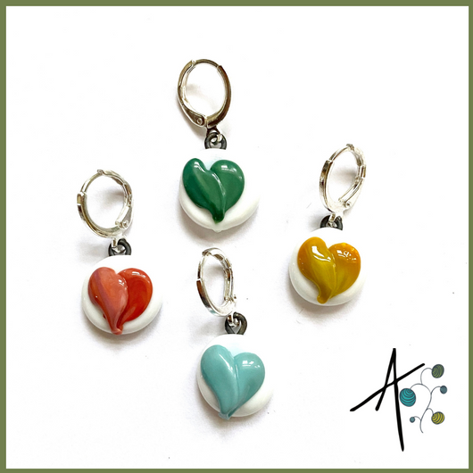 New 2021 Heart Set Stitch Marker / Progress Keeper / Earring