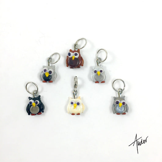 Set of 6 cute Owl stitch markers. There are 6 different owls, all of them a hoot!