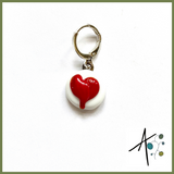 Red Heart Stitch Marker / Progress Keeper / Earring