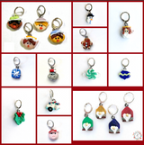 Complete Holiday Set  Stitch Markers / Progress Keepers / Earrings