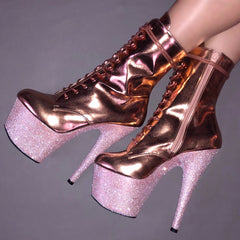 "7"" White Diamond VEGAN Rose Gold Ankle Boot Glitter Heels"