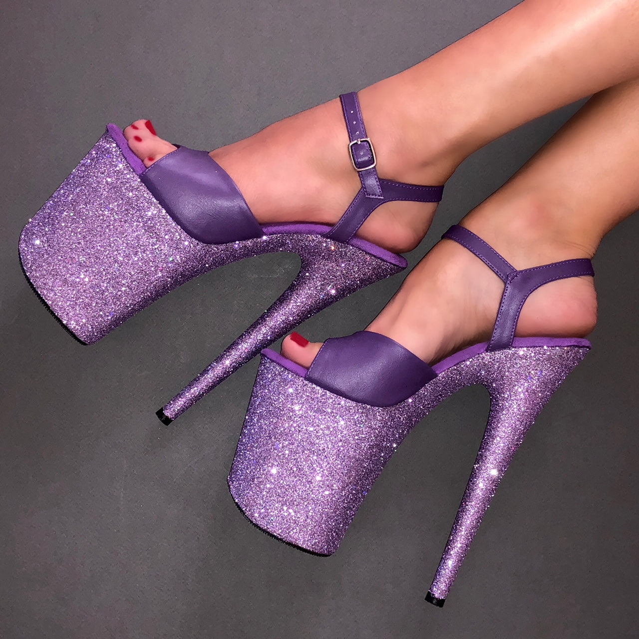 "8"" Lilac with Matte Purple VEGAN Straps Glitter Heels X Pleaser"