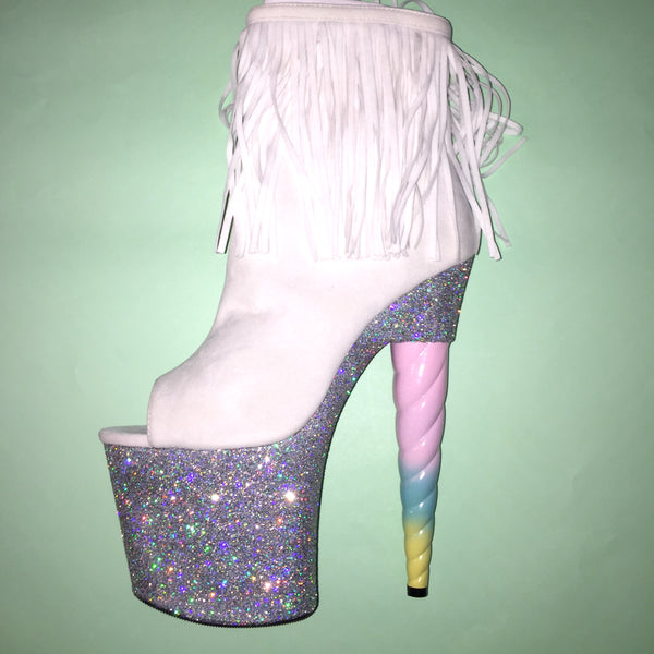 "7.5"" Silver Unicorn Soul White Fringe Bootie -VEGAN- Limited Edition"