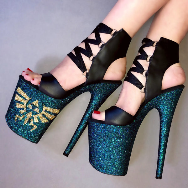 "8"" Poison Zelda Matte Black Lace Up VEGAN Glitter Heels"