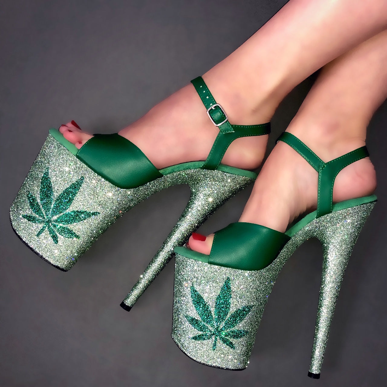 "8"" Mint 420 with Matte Green VEGAN Straps Glitter Heels"