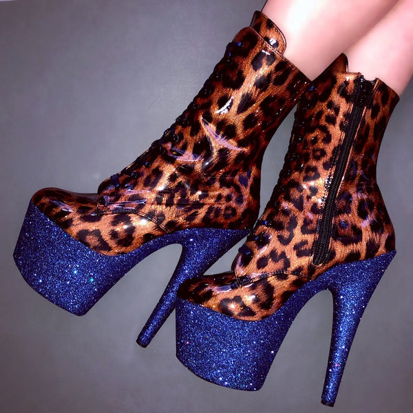 "7"" Sailor Shimmer Patent Leopard with Navy Satin Lacing VEGAN Ankle Boot Glitter Heels"