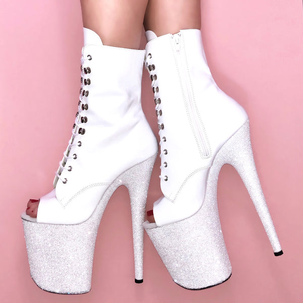 "8"" White Diamond Open Toe Vegan Patent Ankle Boot Glitter Heels"