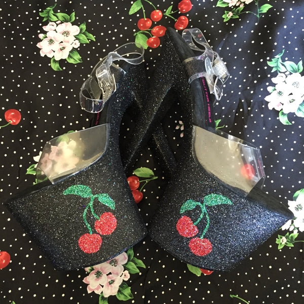 "8"" Cherries VEGAN Glitter Heels"