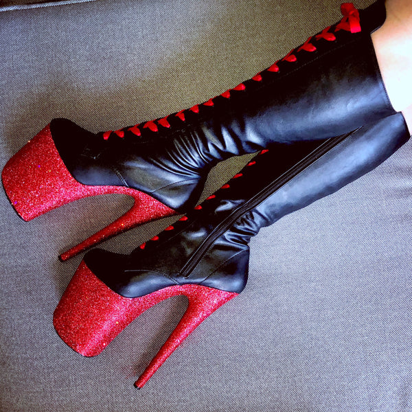 **Extended Size 12-14** Fire Engine w/Red Satin Lacing KneeHigh Matte Black VEGAN GlitterHeelsXPleaser