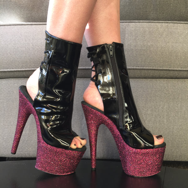 "7"" Pinot Black Open Toe- Open Ankle Boot VEGAN Glitter Heels"