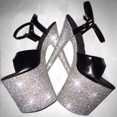 "8"" Holographic Silver with Black Straps Vegan Glitter Heels"