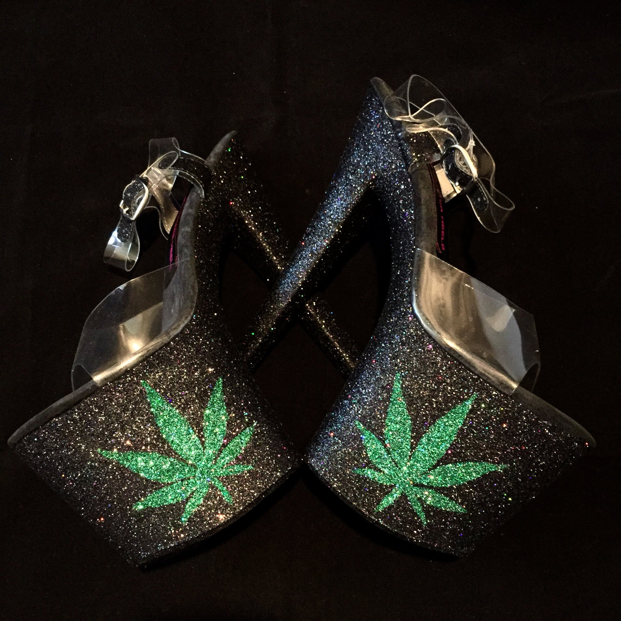 "8"" 420 Pot Leaf VEGAN Glitter Heels"