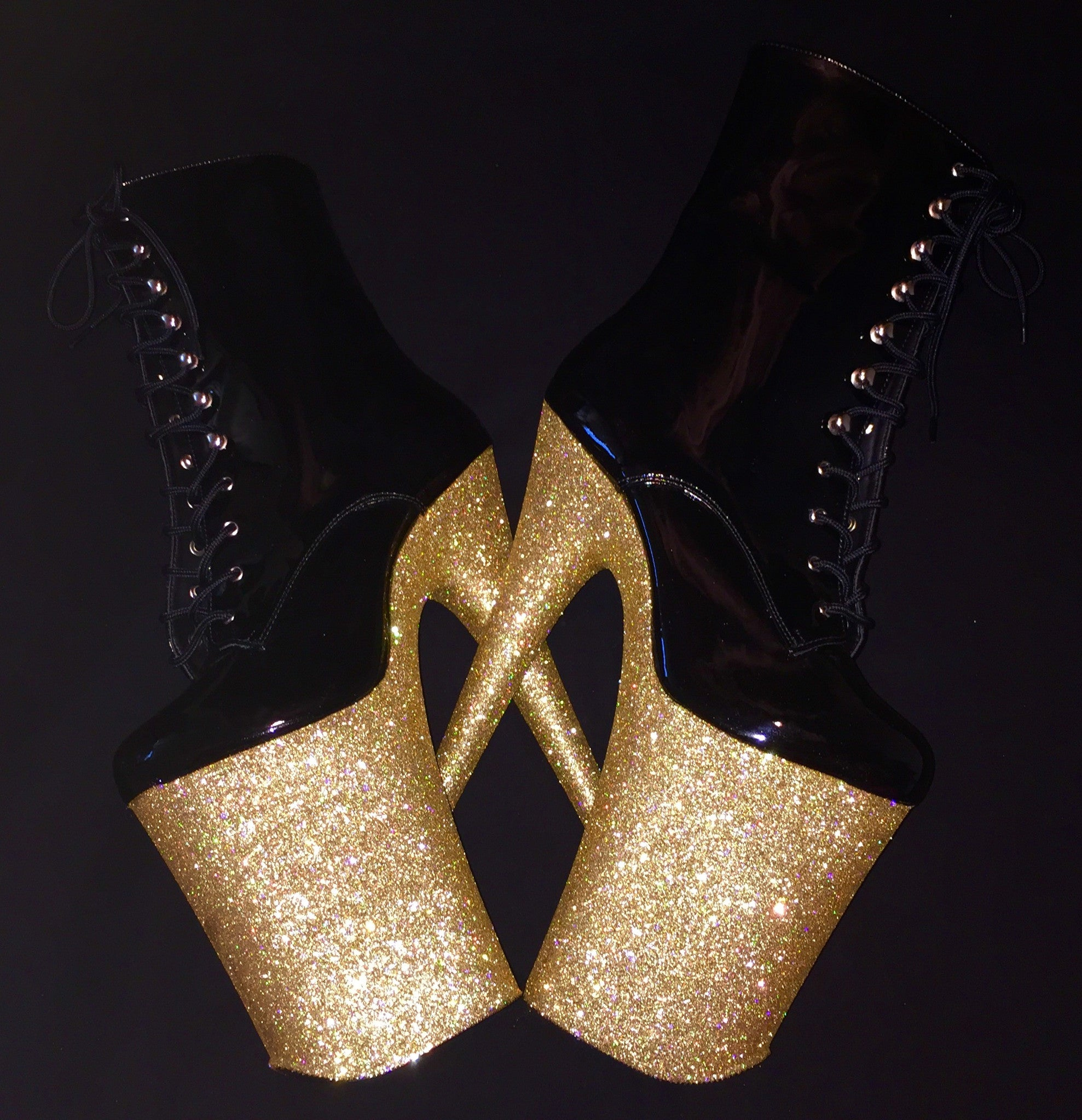 "9"" Gold Ankle Boot GlitterHeels X Pleaser"