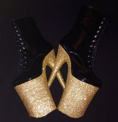 "9"" Gold Ankle Boot VEGAN Glitter Heels"