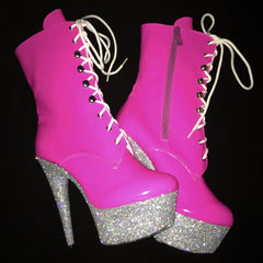 "6"" Hot Pink Silver Ankle Boot"