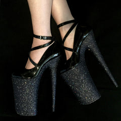 "10"" Black Mary Jane GlitterHeels X Pleaser"