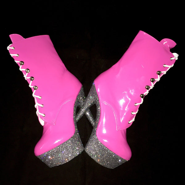 "6"" Hot Pink Gunmetal Ankle Boot"