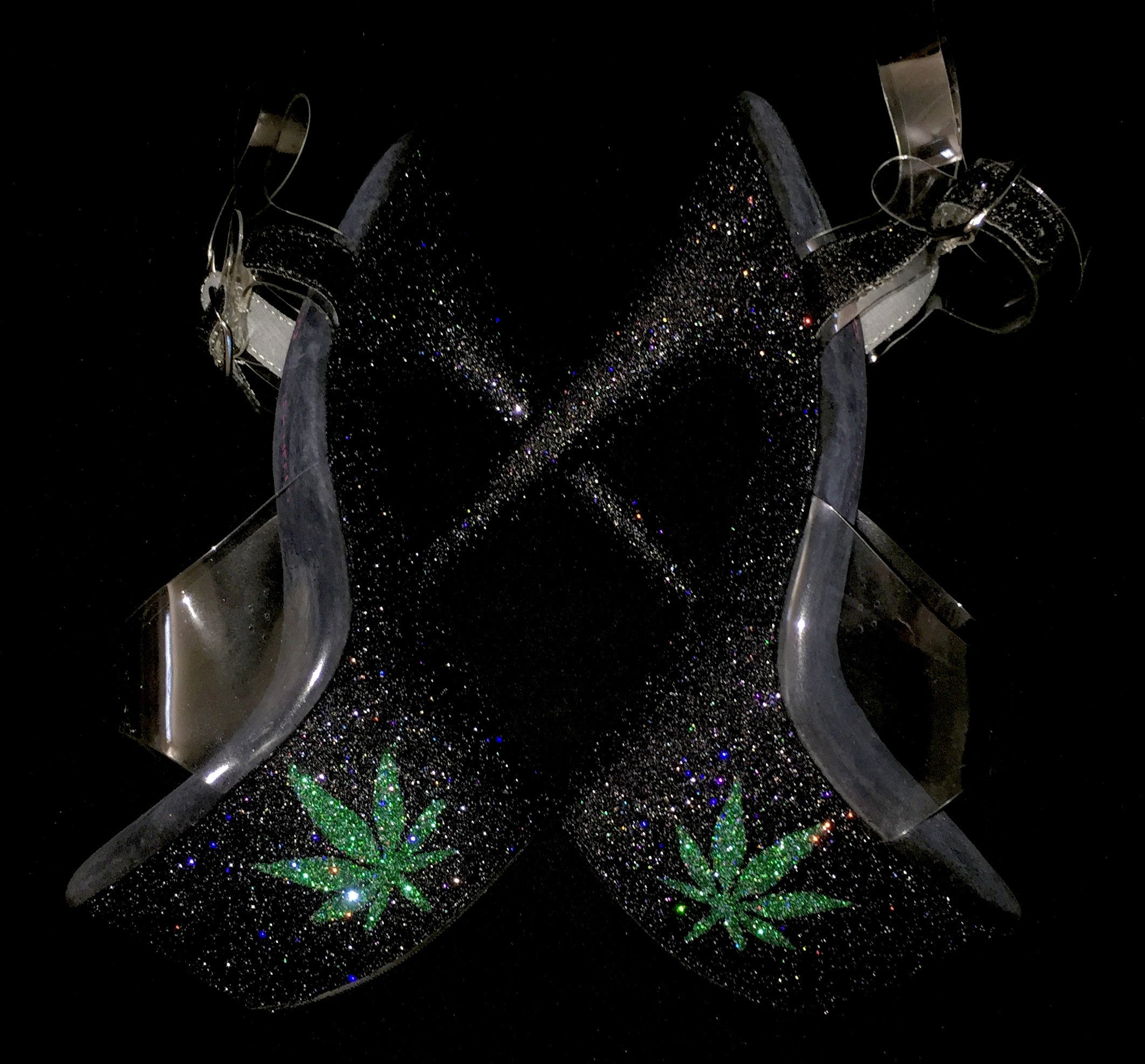 "7"" 420 Pot Leaf VEGAN Glitter Heels"