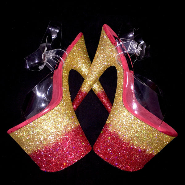 "8"" Red/Gold Ombre GlitterHeels X Pleaser"