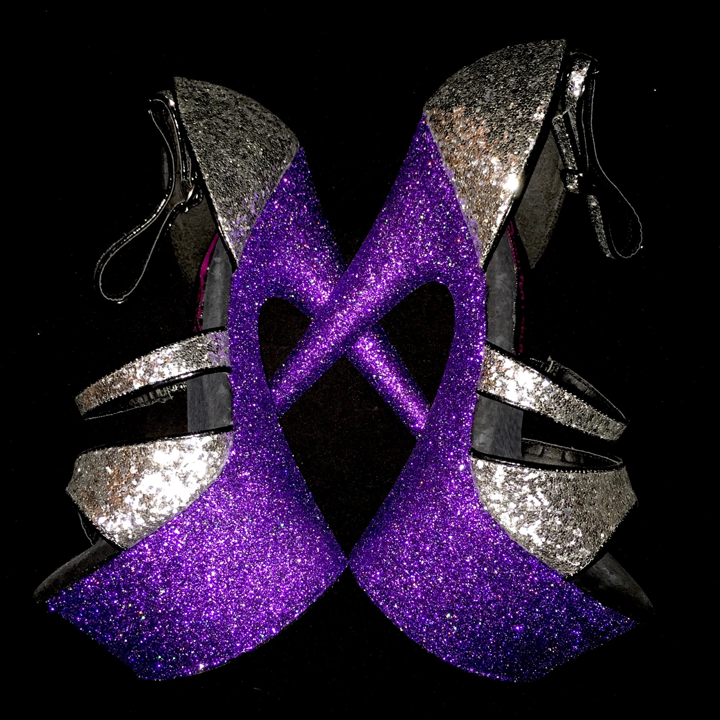 "7"" Purple with Silver Sequin Straps"