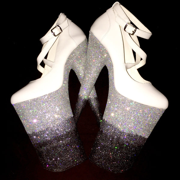 "10"" Black Ice VEGAN Glitter Heels"