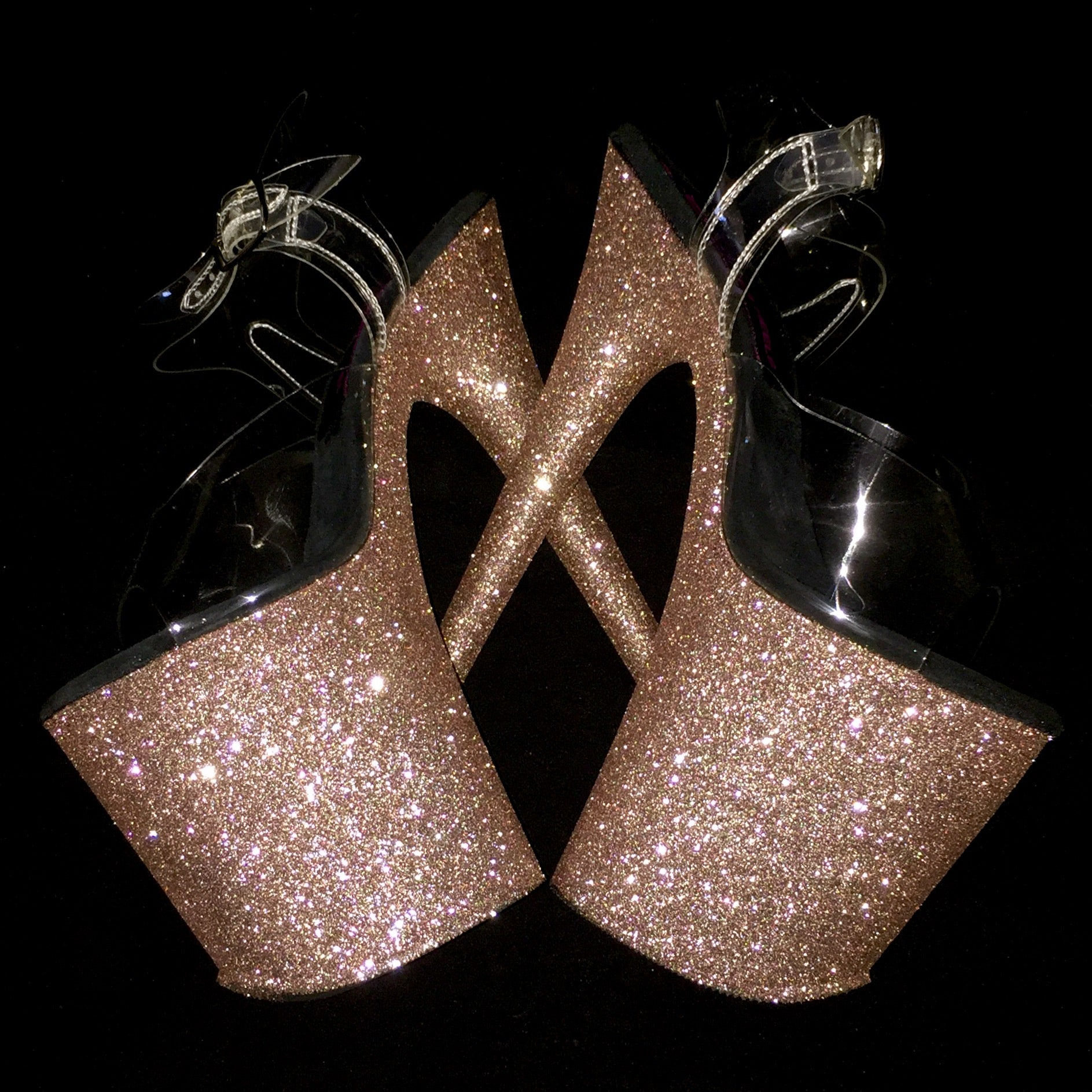 "8"" Rose Gold VEGAN Glitter Heels"
