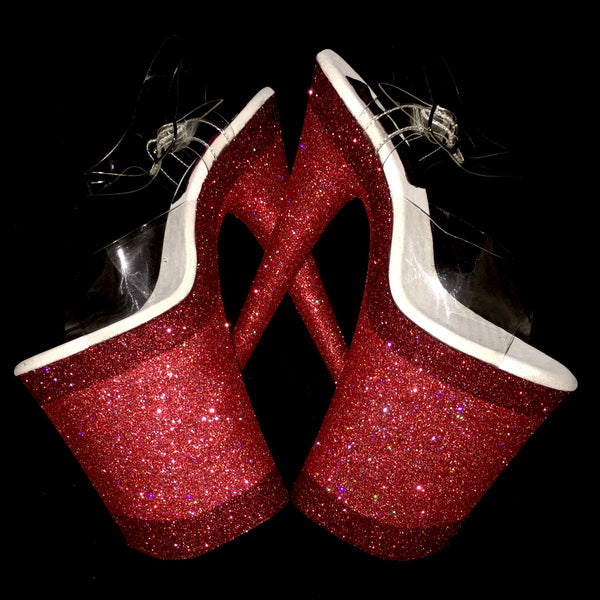 "9""Fire Engine-True Red Linearis Glitter Heels"