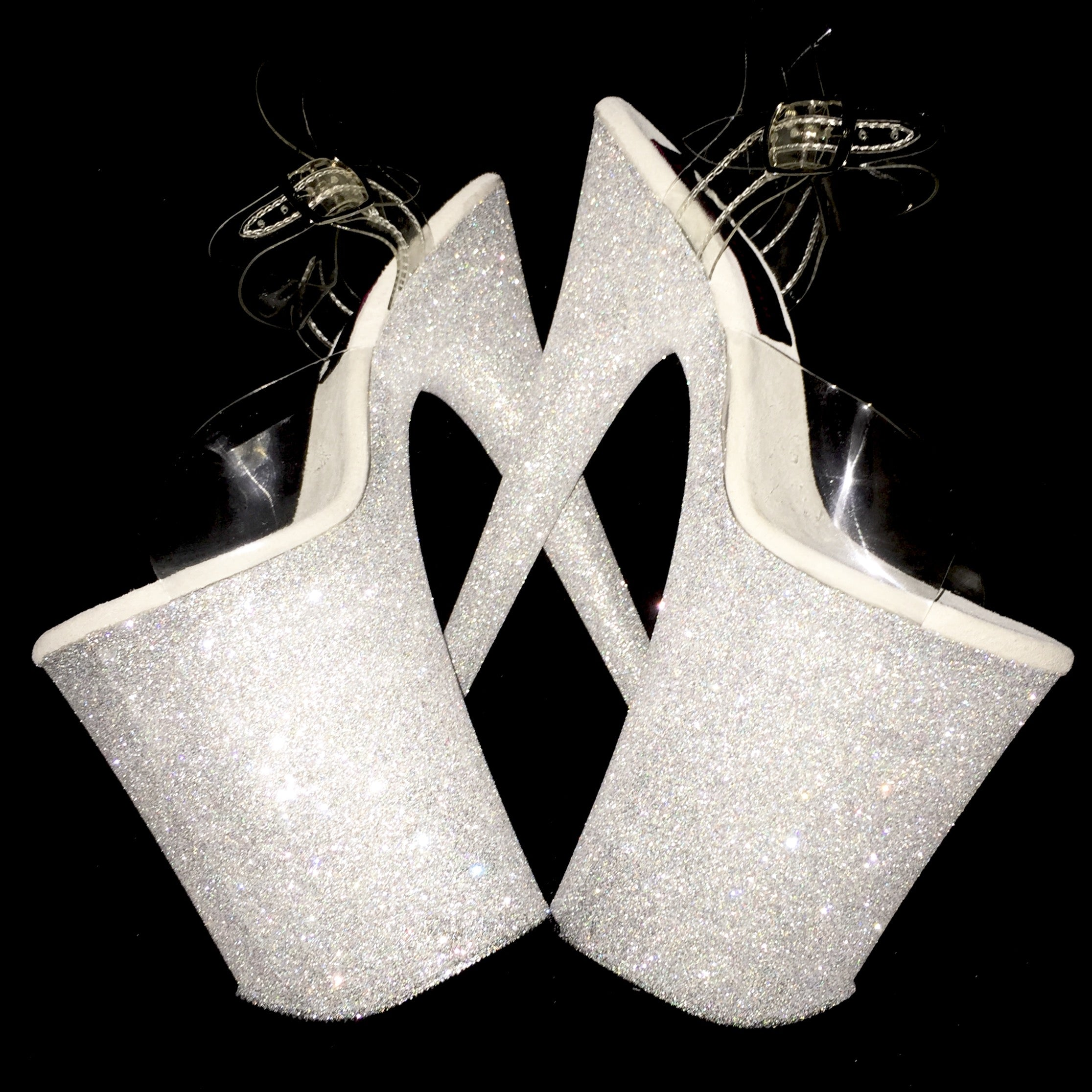 "9"" Lou's White Diamond VEGAN Glitter Heels"