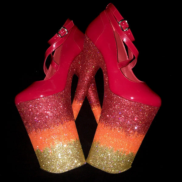 "10"" Jordans Fire Goddess GlitterHeels X Pleaser"