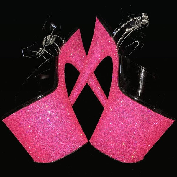 "8"" Punk Pink GlitterHeels X Pleaser"