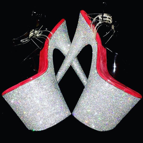 "8"" Silver with Red Footbed GlitterHeels X Pleaser"