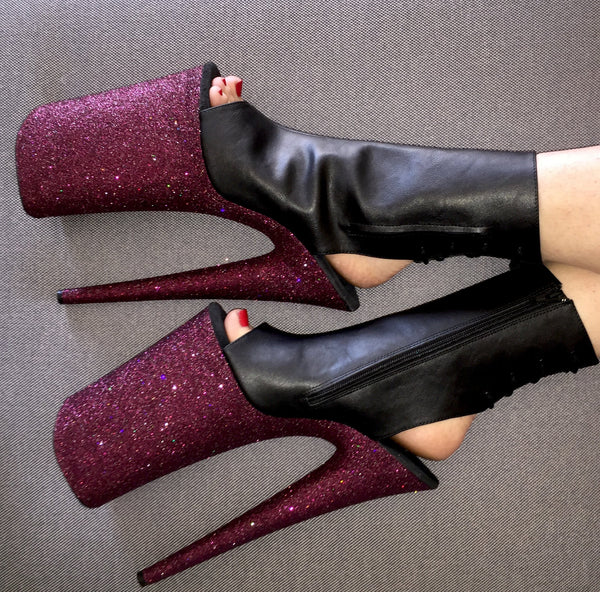 "10"" Pinot Open Heel/Toe Matte Black Vegan Ankle Boot"