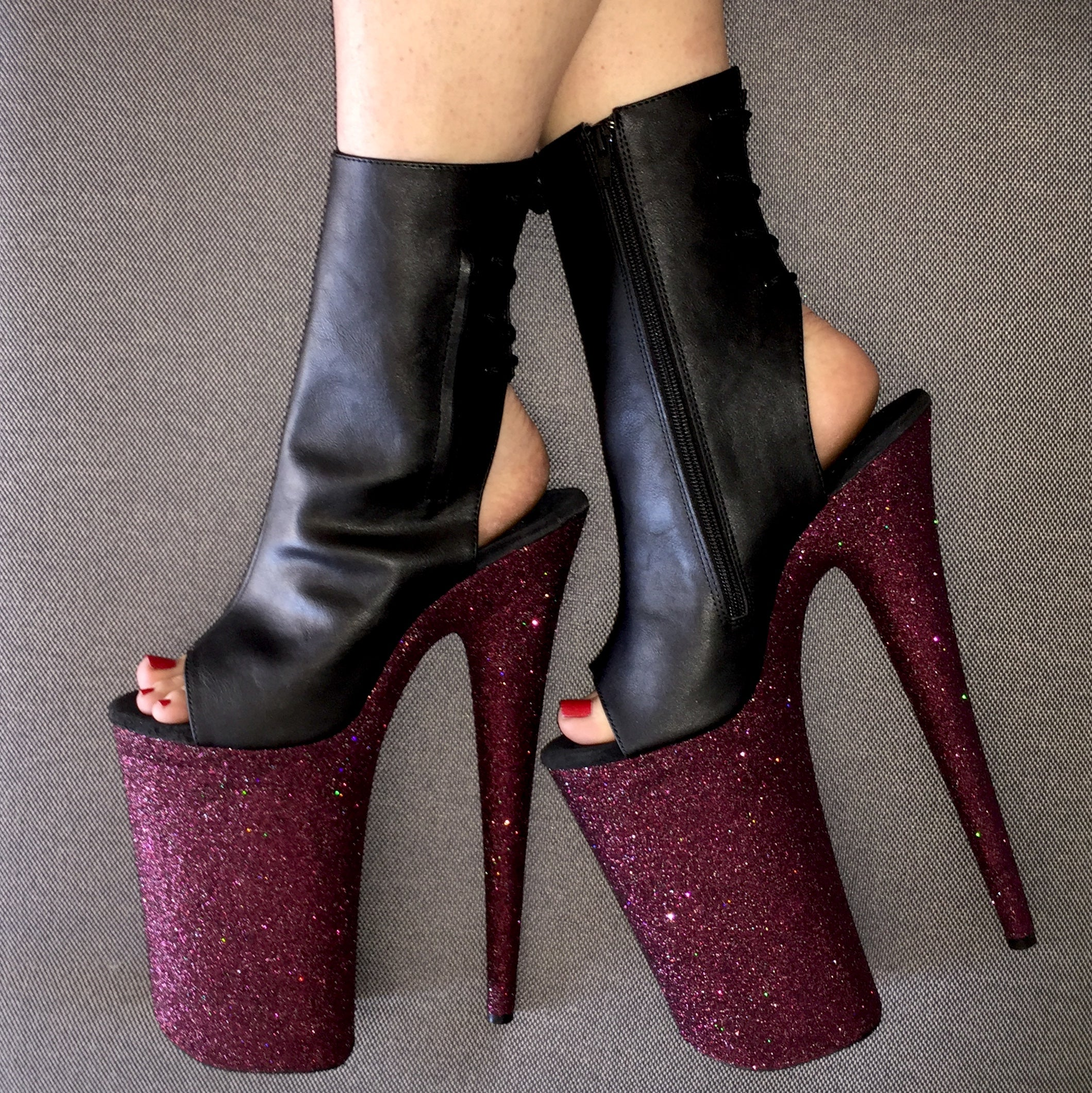 "10"" Pinot Open Heel and Toe Matte Black Vegan Ankle Boot Glitter Heels"