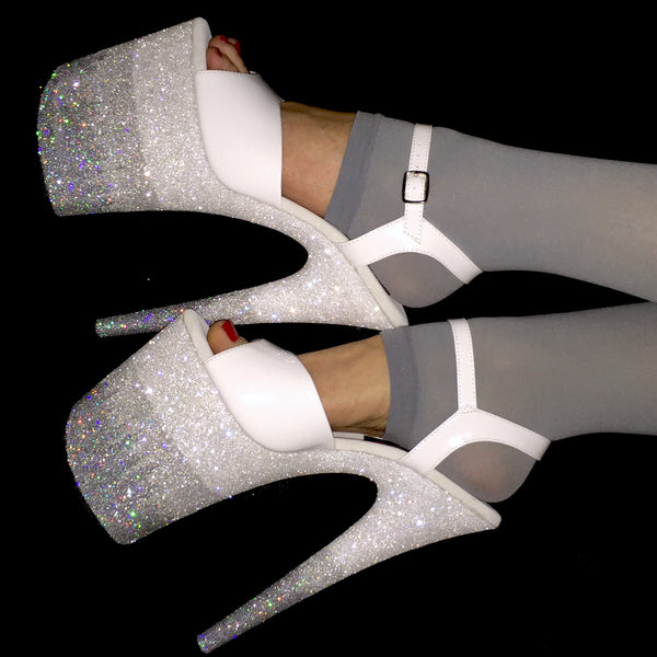 "8"" Jordan Ice Queen -White or Black Strap VEGAN Glitter Heels"