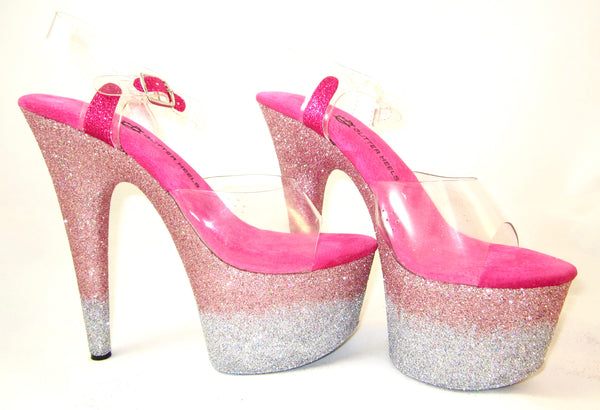 "7"" Pink/Silver Ombre w/Dark Pink Footbed"