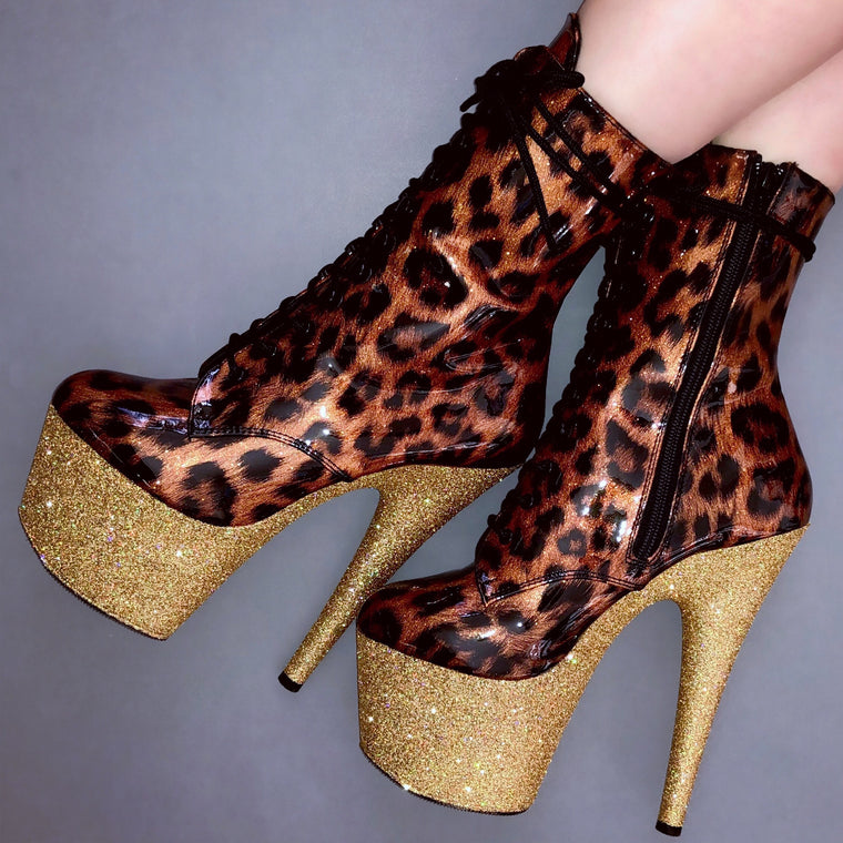 "7"" Gold Shimmer Patent Leopard VEGAN Ankle Boot"